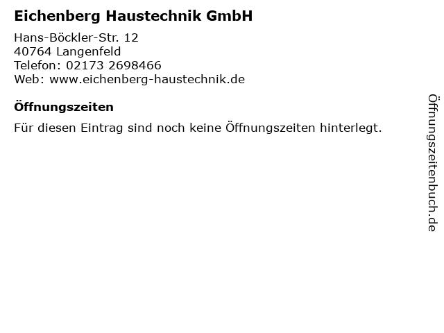 Eichenberg Haustechnik GmbH in Langenfeld: Adresse und Öffnungszeiten