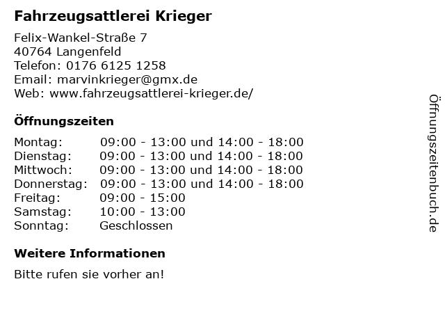 Fahrzeugsattlerei Krieger in Langenfeld: Adresse und Öffnungszeiten