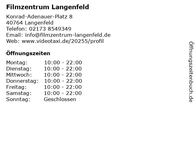 Filmzentrum Langenfeld in Langenfeld: Adresse und Öffnungszeiten