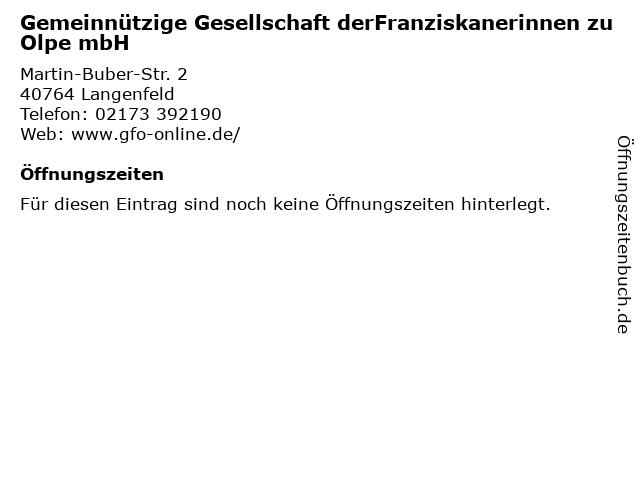 Gemeinnützige Gesellschaft derFranziskanerinnen zu Olpe mbH in Langenfeld: Adresse und Öffnungszeiten