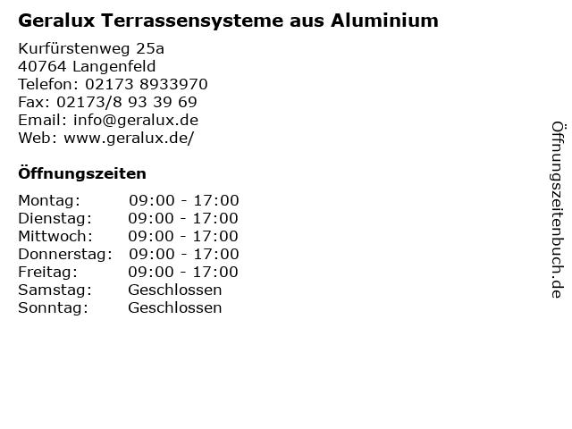 Geralux Terrassensysteme aus Aluminium in Langenfeld: Adresse und Öffnungszeiten