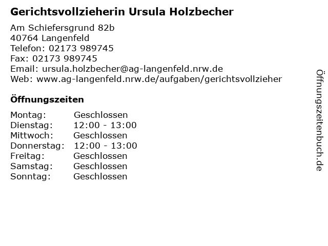 Gerichtsvollzieherin Ursula Holzbecher in Langenfeld: Adresse und Öffnungszeiten