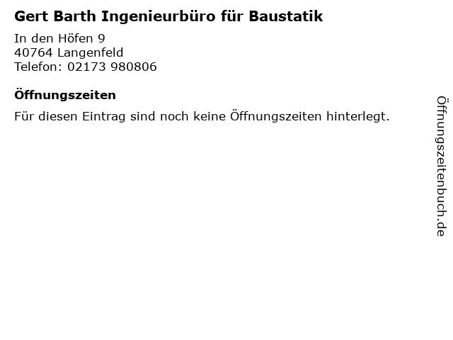 Gert Barth Ingenieurbüro für Baustatik in Langenfeld: Adresse und Öffnungszeiten
