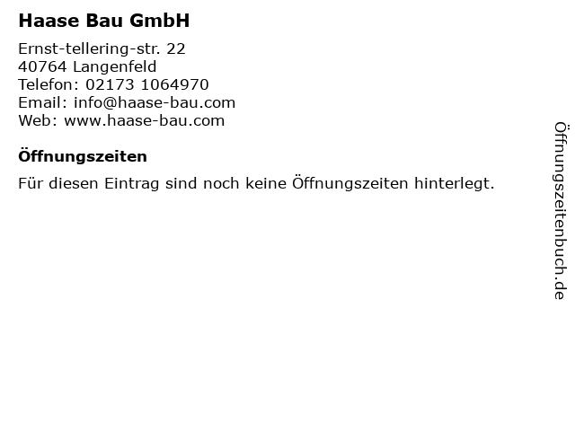Haase Bau GmbH in Langenfeld: Adresse und Öffnungszeiten