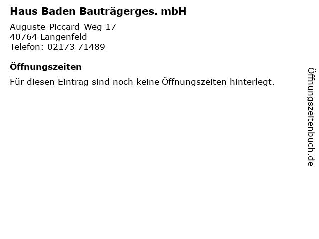 Haus Baden Bauträgerges. mbH in Langenfeld: Adresse und Öffnungszeiten