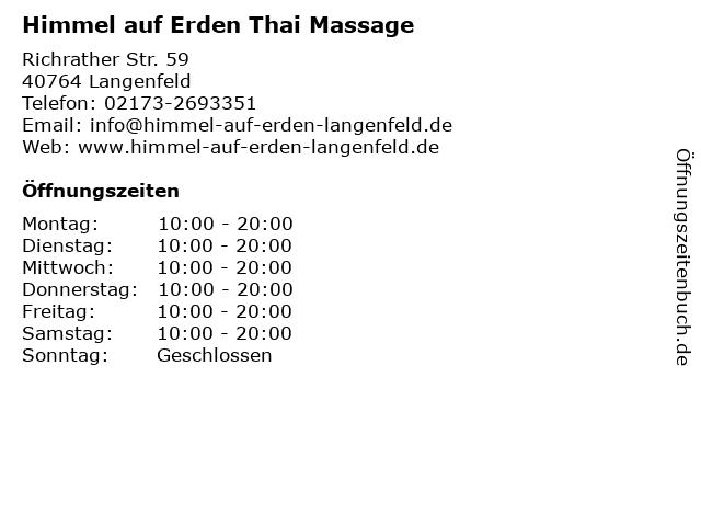 Himmel auf Erden Thai Massage in Langenfeld: Adresse und Öffnungszeiten