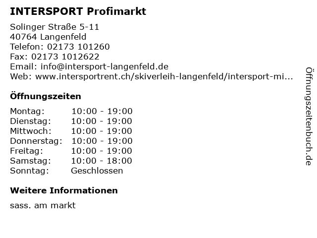 INTERSPORT Profimarkt in Langenfeld: Adresse und Öffnungszeiten