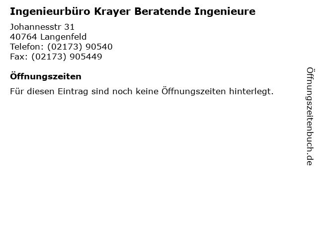 Ingenieurbüro Krayer Beratende Ingenieure in Langenfeld: Adresse und Öffnungszeiten