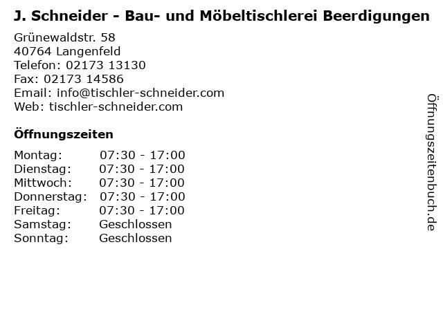 J. Schneider - Bau- und Möbeltischlerei Beerdigungen in Langenfeld: Adresse und Öffnungszeiten