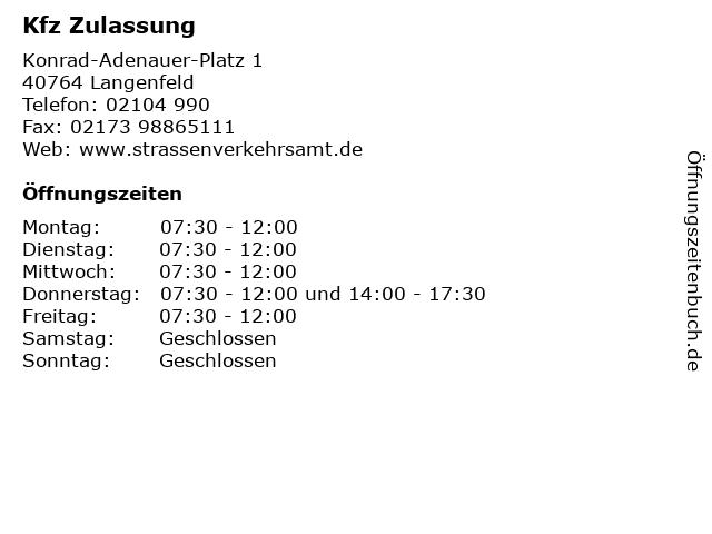 Kfz Zulassung in Langenfeld: Adresse und Öffnungszeiten