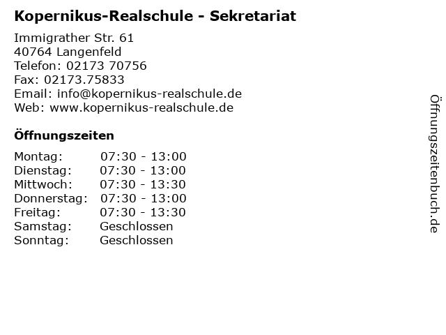 Kopernikus-Realschule - Sekretariat in Langenfeld: Adresse und Öffnungszeiten
