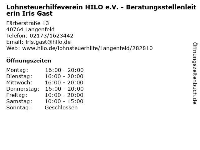 Lohnsteuerhilfeverein HILO e.V. - Beratungsstellenleiterin Iris Gast in Langenfeld: Adresse und Öffnungszeiten