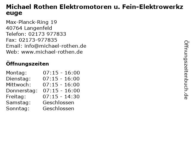Michael Rothen Elektromotoren u. Fein-Elektrowerkzeuge in Langenfeld: Adresse und Öffnungszeiten