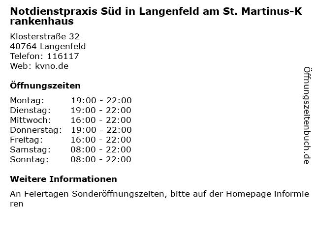 Notdienstpraxis Süd in Langenfeld am St. Martinus-Krankenhaus in Langenfeld: Adresse und Öffnungszeiten