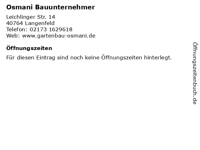 Osmani Bauunternehmer in Langenfeld: Adresse und Öffnungszeiten