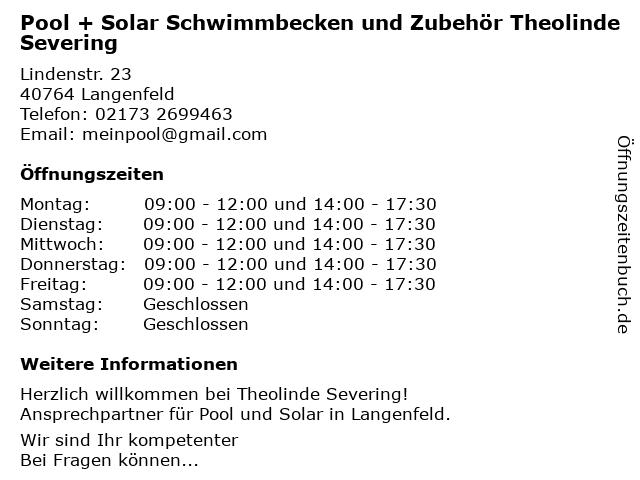 Pool + Solar Schwimmbecken und Zubehör Theolinde Severing in Langenfeld: Adresse und Öffnungszeiten