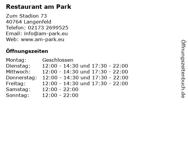 Restaurant am Park in Langenfeld: Adresse und Öffnungszeiten