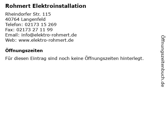 Rohmert Elektroinstallation in Langenfeld: Adresse und Öffnungszeiten