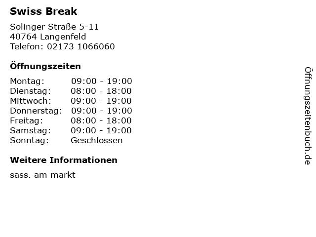 Swiss Break in Langenfeld: Adresse und Öffnungszeiten
