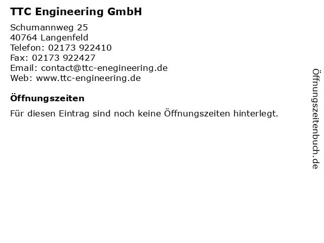 TTC Engineering GmbH in Langenfeld: Adresse und Öffnungszeiten