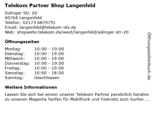 Telekom Partner Shop Langenfeld in Langenfeld: Adresse und Öffnungszeiten