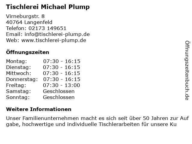 Tischlerei Michael Plump in Langenfeld: Adresse und Öffnungszeiten