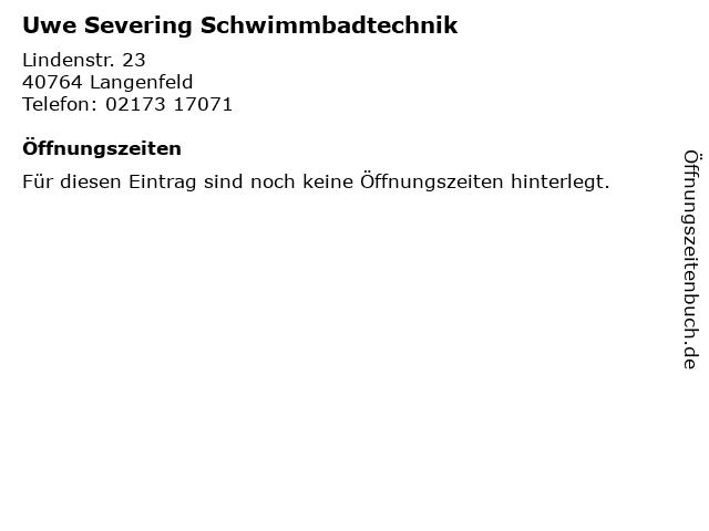 Uwe Severing Schwimmbadtechnik in Langenfeld: Adresse und Öffnungszeiten