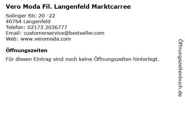 Vero Moda Fil. Langenfeld Marktcarree in Langenfeld: Adresse und Öffnungszeiten