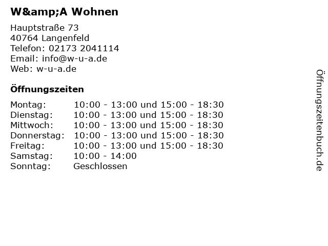 W&A Wohnen in Langenfeld: Adresse und Öffnungszeiten