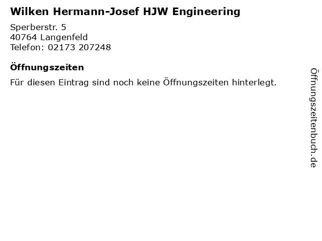 Wilken Hermann-Josef HJW Engineering in Langenfeld: Adresse und Öffnungszeiten