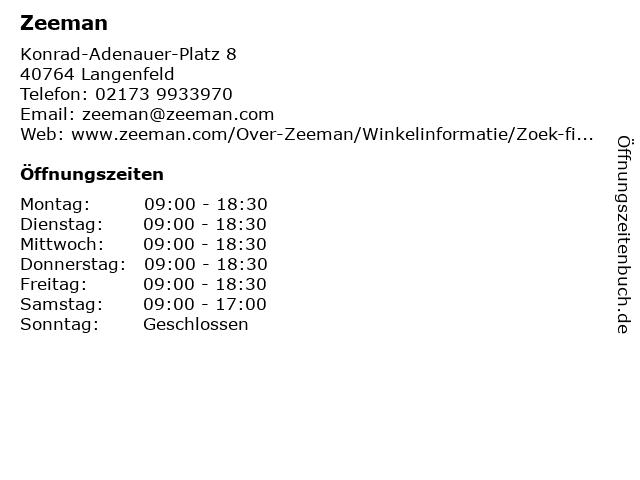 Zeeman in Langenfeld: Adresse und Öffnungszeiten