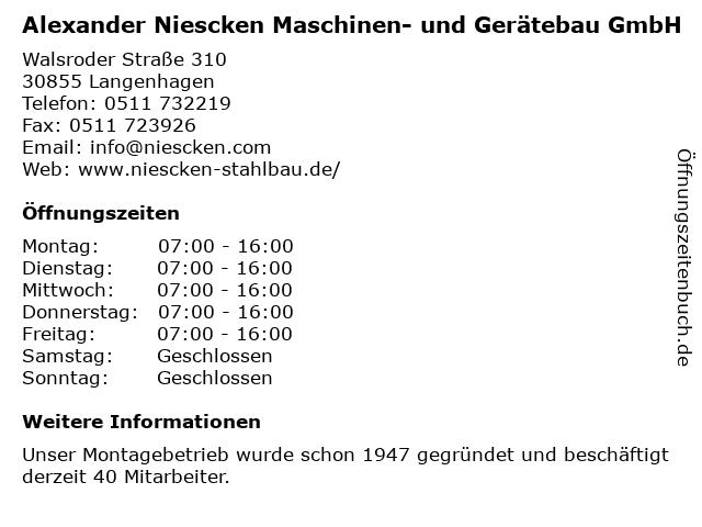 Alexander Niescken Maschinen- und Gerätebau GmbH in Langenhagen: Adresse und Öffnungszeiten