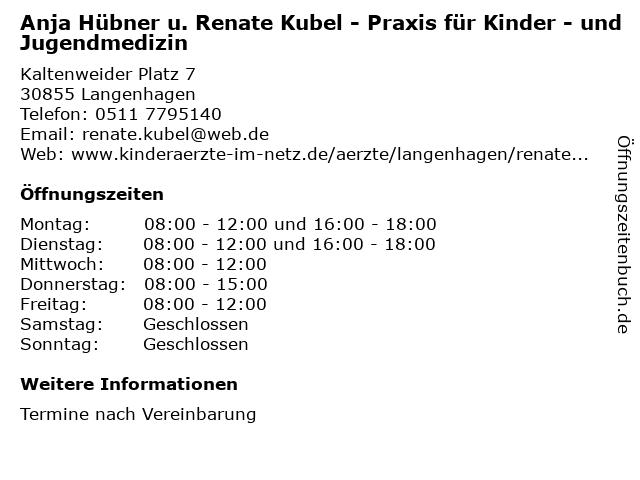 Anja Hübner u. Renate Kubel in Langenhagen: Adresse und Öffnungszeiten