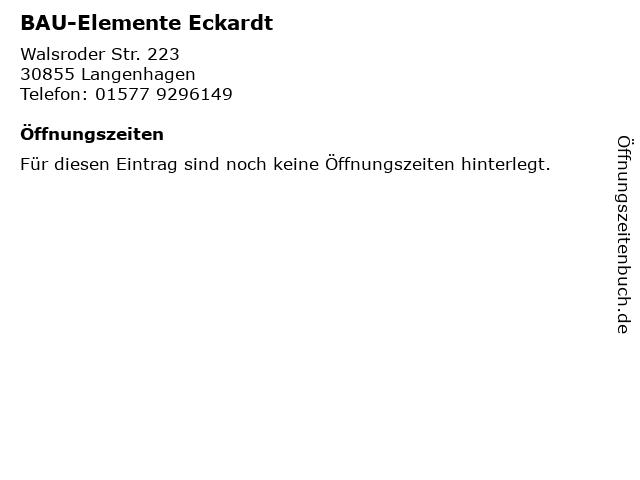 BAU-Elemente Eckardt in Langenhagen: Adresse und Öffnungszeiten