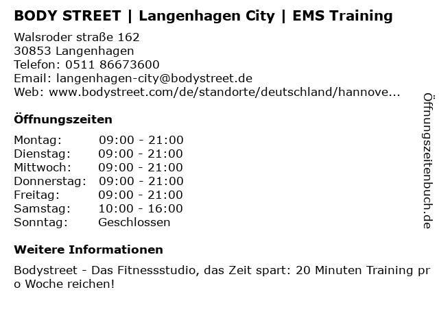 BODY STREET   Langenhagen City   EMS Training in Langenhagen: Adresse und Öffnungszeiten