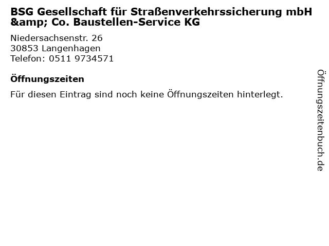 BSG Gesellschaft für Straßenverkehrssicherung mbH & Co. Baustellen-Service KG in Langenhagen: Adresse und Öffnungszeiten