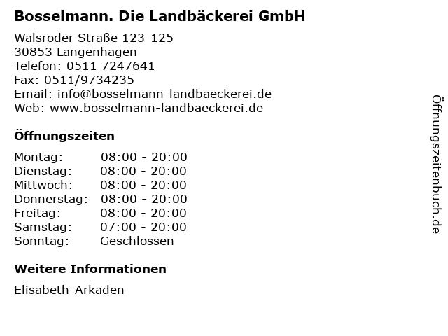 Bosselmann. Die Landbäckerei GmbH in Langenhagen: Adresse und Öffnungszeiten