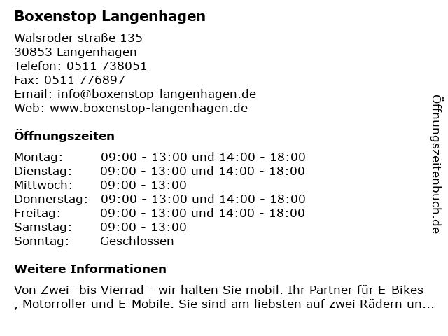 Boxenstop Langenhagen in Langenhagen: Adresse und Öffnungszeiten
