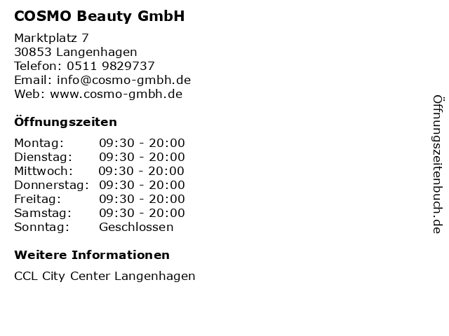 COSMO Beauty GmbH in Langenhagen: Adresse und Öffnungszeiten