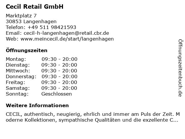Cecil Retail GmbH in Langenhagen: Adresse und Öffnungszeiten