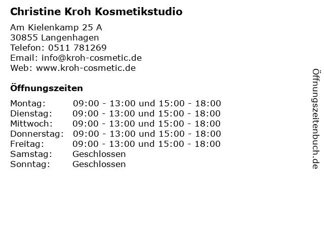 Christine Kroh Kosmetikstudio in Langenhagen: Adresse und Öffnungszeiten