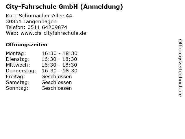 City-Fahrschule GmbH (Anmeldung) in Langenhagen: Adresse und Öffnungszeiten