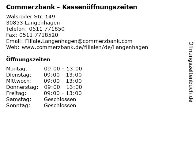 Commerzbank - Kassenöffnungszeiten in Langenhagen: Adresse und Öffnungszeiten