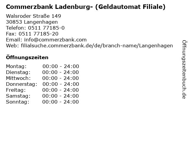 Commerzbank Ladenburg- (Geldautomat Filiale) in Langenhagen: Adresse und Öffnungszeiten