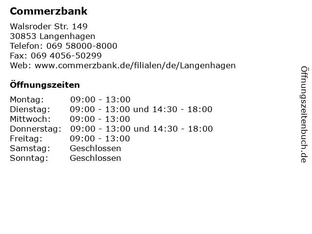 Commerzbank in Langenhagen: Adresse und Öffnungszeiten