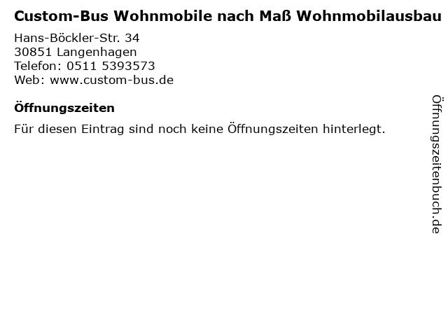 Custom-Bus Wohnmobile nach Maß Wohnmobilausbau in Langenhagen: Adresse und Öffnungszeiten