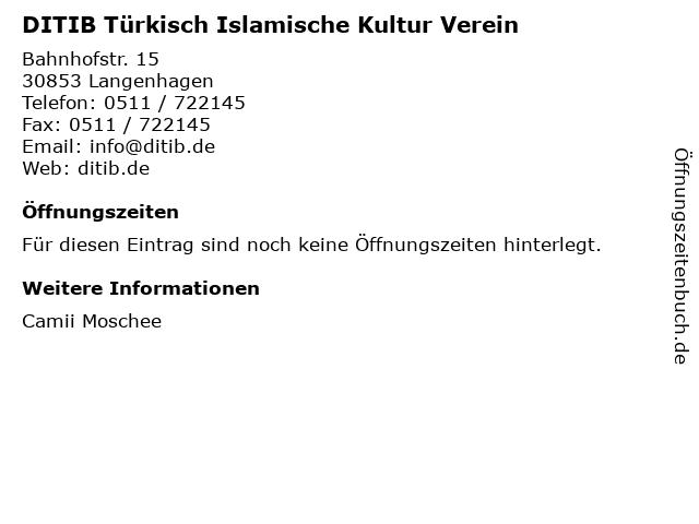 DITIB Türkisch Islamische Kultur Verein in Langenhagen: Adresse und Öffnungszeiten