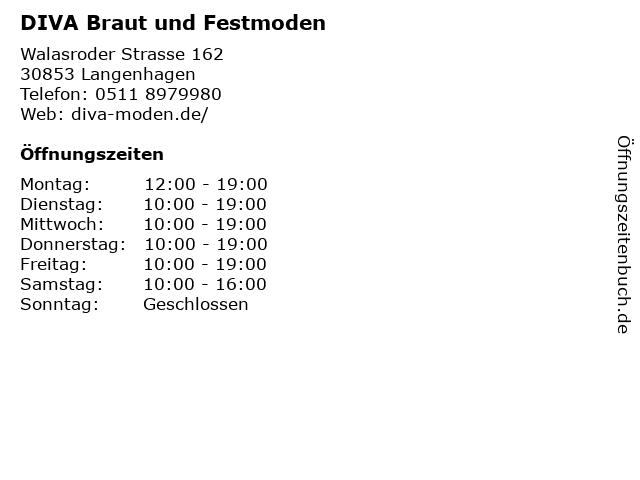 DIVA Braut und Festmoden in Langenhagen: Adresse und Öffnungszeiten