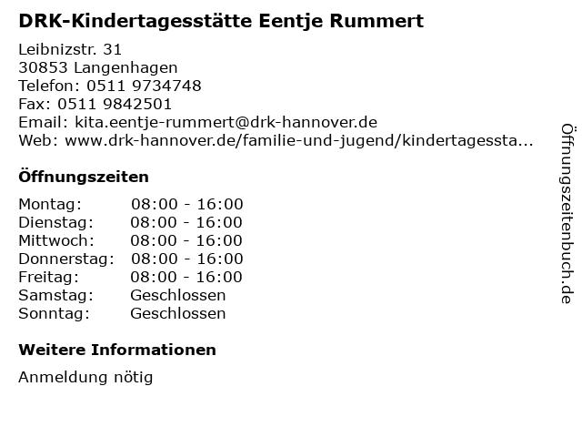 DRK-Kindertagesstätte Eentje Rummert in Langenhagen: Adresse und Öffnungszeiten