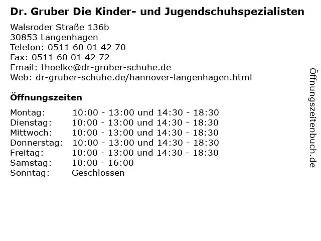 Dr. Gruber Die Kinder- und Jugendschuhspezialisten in Langenhagen: Adresse und Öffnungszeiten